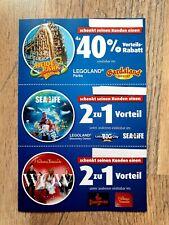 3 Gutscheine 2 für 1 40% Rabatt 4 Pers  LEGOLAND,GARDALAND,HEIDEPARK,SEALIFE