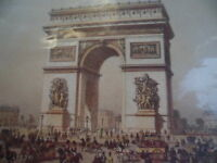 SMALL PRINT PAINTING ARC DE TRIOMPHE OLD PARIS PICTURE
