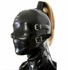 Latex Hood Rubber Black Cool Cosplay Clubwear Buckle Zentai Headgear 0.4mm S-XXL