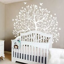 White Tree Wall Decal Inspirational Vinyl Bird Removable Mural Art Decor Large