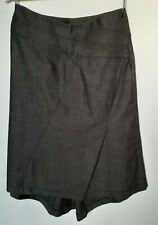 Oasis Gray Denim High Low Midi Skirt UK 12 Charcoal Asymmetrical Back Kick Pleat