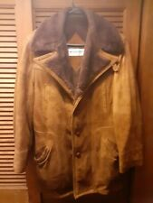 Vintage MCGREGOR Leather Coat Men's 42 Sherpa Lined Brown Suede Barn Jacket