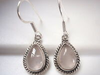 Rose Quartz Teardrop with Rope Style Accents 925 Sterling Silver Dangle Earrings