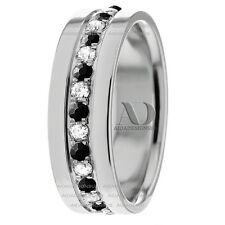 1.08Ctw Solid 10K White Gold Black & Clear Diamond Wedding Band Ring 8mm