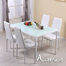 White Dining Glass Table & Chair Set 120cm Table and 4 Dining Chair Kitchen Room