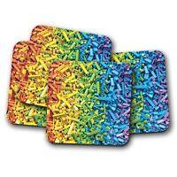 4 Set - Rainbow Blocks Coaster - Building Bricks Kids Boys Girls Fun Gift #14331