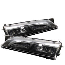 Fit Nissan 97-98 240SX S14 Black Headlights Lamps Direct Replacement Pair SE LE