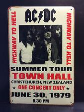 AC DC SUMMER TOUR 1979 CONCERT POSTER - VINTAGE RETRO METAL SIGN  16x12 CM