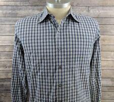 Tom Ford Mens Check Blue Button Down Dress Shirt Size XL (17 1/2)
