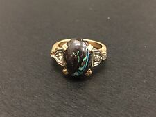 Antique 14K Yellow Gold Diamond & Boulder Opal Cabochon Art Deco Ring 4.32 Grams