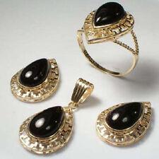 14K GOLD PEAR CUT BLACK ONYX EARRINGS RING PENDANT.