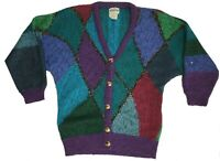 Vintage 80s Oversize Bright Lurex Batwing Cardigan / Size Small