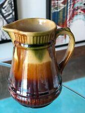 Vintage Creamer Pitcher Stoneware Brown Olive Green Sweet