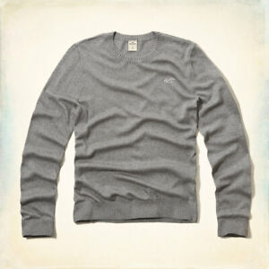 Hollister by Abercrombie Fitch Men's Round Neck Gray Blue Sweater Medium Large