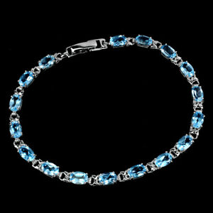 Oval Swiss Blue Topaz 6x4mm White Gold Plate 925 Sterling Silver Bracelet 7.5