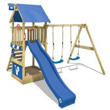 WICKEY Spielturm Klettergerüst Smart Shelter Schaukelgestell mit blauer Rutsche