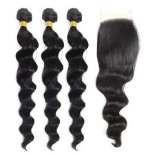 "Indian Virgin Hair Loose Wave 3 Bundles 16""18""20"" With 16"" 4 by 4 Lace Closure"