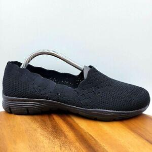 NEW Skechers Seager Stat Black Knit Slip On Comfort Loafers Women's 10 49481