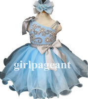 Infant/toddler/baby rhinestone &Crystals Beaded Pageant Dress 285