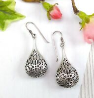 Vintage Sterling Silver Ornate Pierced Teardrop Earrings