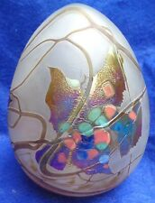 Borowski Art Glass Huge Egg Shaped Autumn Leaves Hand Crafted Signed