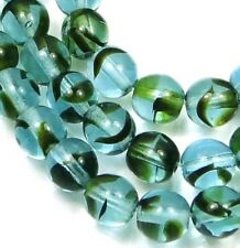 50 Czech Glass Round Beads - Teal Tortoise 6mm