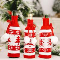 UK_ Reusable Christmas Knitting Elk Snowflake Drawstring Wine Bottle Cover Bag D