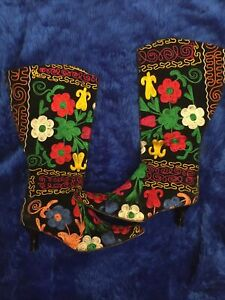 Vintage 60s 70s Style Embroidered Boots 6 39 Turkish Boho Folk Hippy Psychedelic