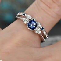 2pcs/set Women's Wedding Set Rings 925 Silver Ring Size 6-10 Round Cut Emerald