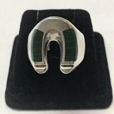 Sterling And Malachite Horse Shoe Mens Ring