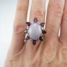 BIG SUNFLOWER Ring Lavender Jadeite Jade Diamond Amethyst 14K Yellow Gold 1970s