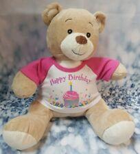 "Build A Bear Happy Birthday Shirt Cream Girl Boy Bear Wh 00004000 ite Pink 14"" - B53"