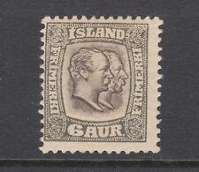 Iceland Sc 75 MOG. 1907 6a gray & gray brown Double KIngs, OG, HR