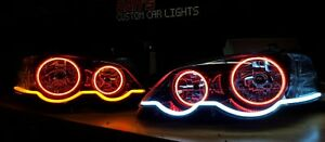 Ford Falcon BA BF XR6 XR8 Headlights with Multicolored Halo Rings and DRL Strip