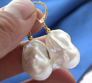 REAL HUGE AAA SOUTH SEA NATURAL WHITE BAROQUE PEARL GOLD DANGLE EARRINGS