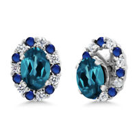 1.46 Ct Oval London Blue Topaz 925 Sterling Silver Earrings with Jackets