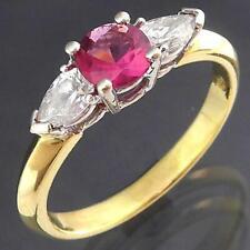 Solid 18k Yellow & White GOLD TOURMALINE 2 Pear Cut Diamond RING Val=$3525 Sz N