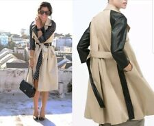 NEW ZARA DOUBLE BREASTED TRENCH COAT JACKET WITH FAUX LEATHER CONTRAST SLEEVES