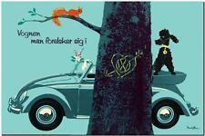 "VINTAGE VOLKSWAGEN VW Beetle Ad Poster FRAMED CANVAS PRINT 24""x16"" tree"