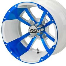 """GOLF CART 12"""" WHITE/BLUE STORMTROOPER WHEELS WITH LOW PRO 215/40-12 TIRE DOT"""