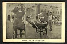 BLOWING THEM OFF TO HIGH BALLS COMIC ALCOHOL DRINKING MUSIC SEMI-PHOTO POSTCARD