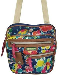 Lily Bloom Tropical Floral Sea Turtle Adjustable Crossbody Purse Handbag