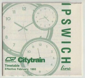 VINTAGE 1993 IPSWICH TO BRISBANE CITY LINE QLD RAILWAYS PAPER TRAIN TIMETABLE!!!