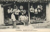 VINTAGE CEYLON SRI LANKA BANANAS A NATIVE FRUIT SHOP COLOMBO POSTCARD - UNUSED