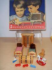 Vintage Germany Vero Puppenstuben Mobel Dollhouse Furniture Bedroom Set  1960's