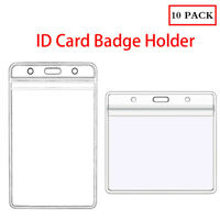 10PCS Clear ID Card Badge Pass Holder Pocket Wallet Size 100 X 82 mm 112 X 68 mm