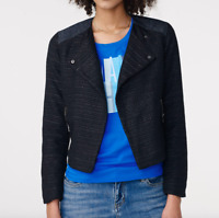 Armani Exchange Womens Size Small Pieced Tweed Moto Jacket Black Navy NEW $178