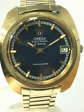 Omega Electronic Watch, f 300 hz, Blue Dial, 14k Gold Filled, Deployment Buckle