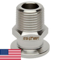 """KF-16 NW-16 1/2"""" NPT (MALE) Adapter Vacuum Fitting SS304 LoCo SCIENCE!!"""