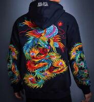 Mens Hoodie Sweatshirt Japanese Pattern Embroidery Loose Hooded Colorful Phoenix